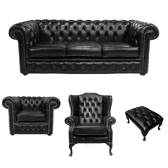 Chesterfield 3 Seater Sofa + Club Chair + Mallory Wing Chair + Footstool Old English Black Leather Sofa Offer