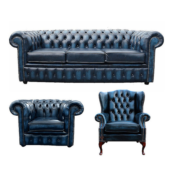 Chesterfield 3 Seater Sofa + Club Chair + Mallory Wing Chair Leather Sofa Suite Offer Antique blue