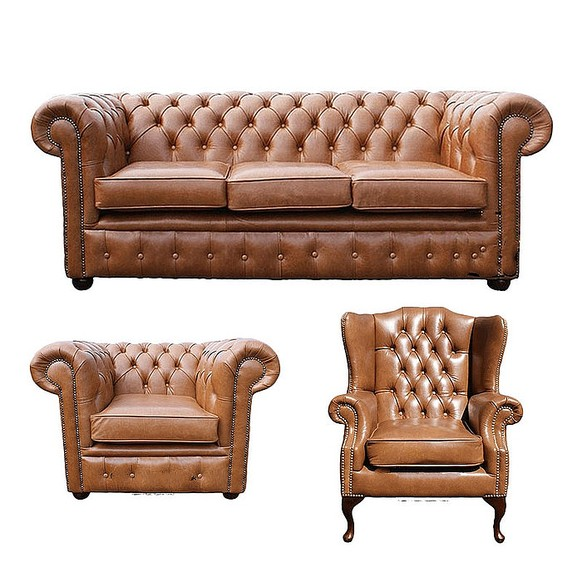 Chesterfield 3 Seater Sofa + Club Chair + Mallory Wing Chair Old English Tan Leather Sofa Offer