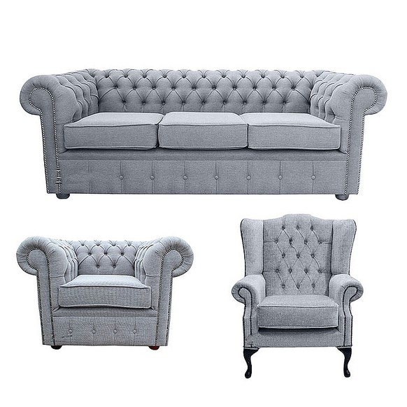 Chesterfield 3 Seater Sofa + Club Chair + Mallory Wing Chair Verity Plain Steel FabricSofa Suite Offer