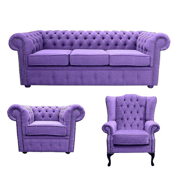 Chesterfield 3 Seater Sofa + Club Chair + Mallory Wing Chair Verity Purple Fabric Sofa Suite Offer