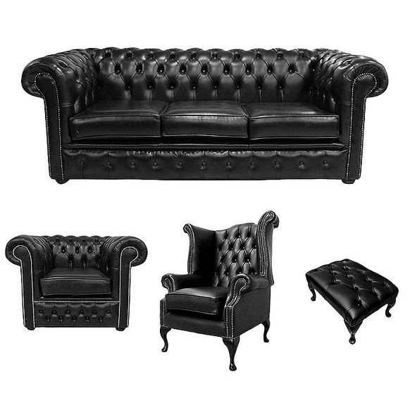 Chesterfield 3 Seater Sofa + Club Chair + Queen Anne Chair + Footstool Old English Black Leather Sofa Offer