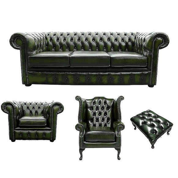 Chesterfield 3 Seater Sofa + Club Chair + Queen Anne Wing Chair + Footstool Leather Sofa Suite Offer Antique Green
