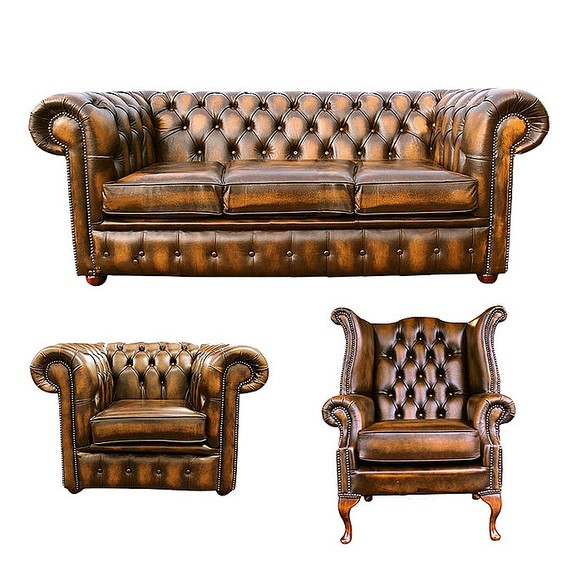 Chesterfield 3 Seater Sofa + Club Chair + Queen Anne Wing Chair Leather Sofa Suite Offer Antique Gold