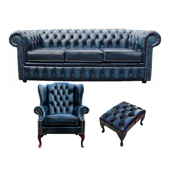 Chesterfield 3 Seater Sofa + Mallory Wing Chair + Footstool Leather Sofa Suite Offer Antique Blue