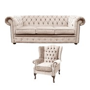 Chesterfield 3 Seater Sofa + Mallory Wing Chair Harmony Ivory Velvet Sofa Suite Offer