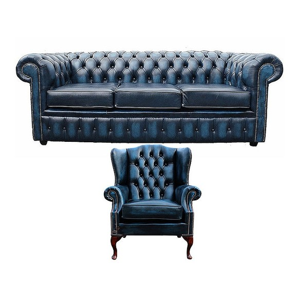 Chesterfield 3 Seater Sofa + Mallory Wing Chair Leather Sofa Suite Offer Antique Blue