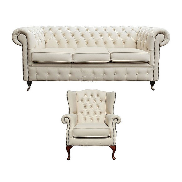 Chesterfield 3 Seater Sofa + Mallory Wing Chair Leather Sofa Suite Offer Ivory