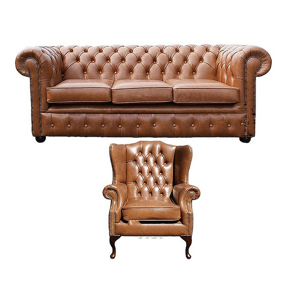 Chesterfield 3 Seater Sofa + Mallory Wing Chair Old English Tan Leather Sofa Offer