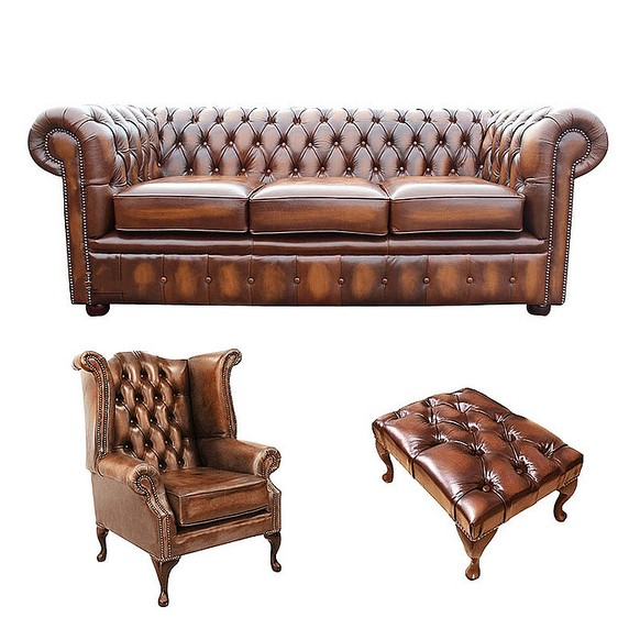 Chesterfield 3 Seater Sofa + Queen anne Chair + Footstool Leather Sofa Suite Offer Antique tan