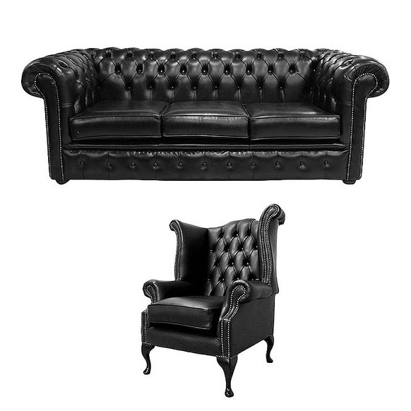 Chesterfield 3 Seater Sofa + Queen Anne Chair Old English Black Leather Sofa Offer