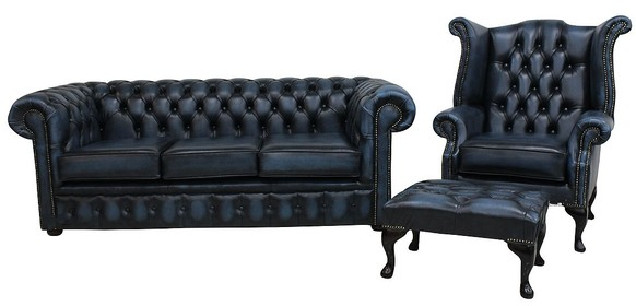 Chesterfield 3 Seater Sofa + Queen Anne Wing Chair + Footstool Leather Suite Antique Blue