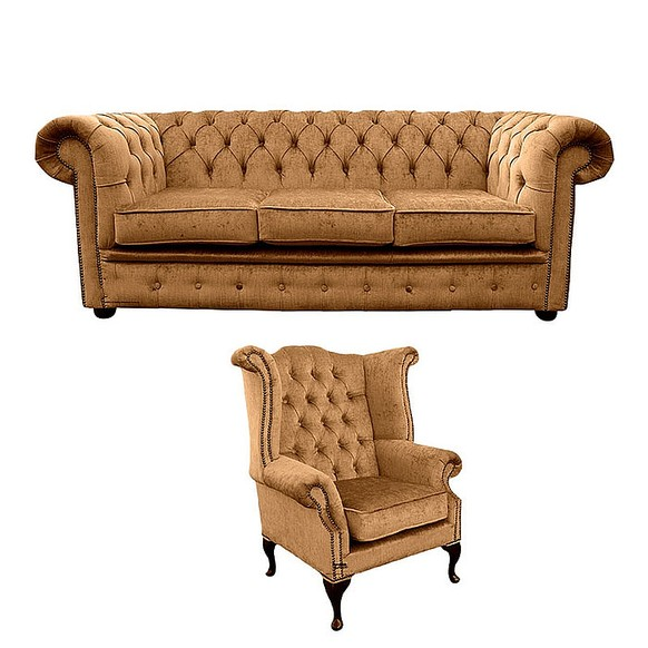 Chesterfield 3 Seater Sofa + Queen Anne Wing Chair Harmony Gold Velvet Sofa Suite Offer