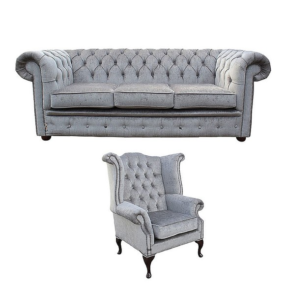 Chesterfield 3 Seater Sofa + Queen Anne Wing Chair Perla Illusions Velvet Sofa Suite Offer