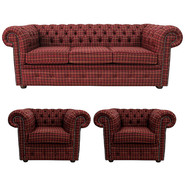 Chesterfield Arnold Wool Suite 3 Seater Sofa Settee + 2 x Club Chairs Balmoral Claret
