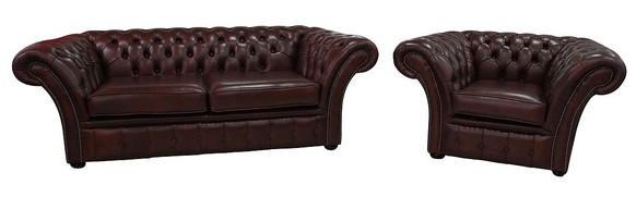 Chesterfield Calvert 3+Club Chair Sofa Suite Byron Conker Leather