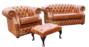 Chesterfield Buckingham 2 Seater + Club Chair + Footstool Aniline Old English Tan Leather Sofa Suite Offer