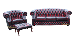 Chesterfield Buckingham 3 Seater + Club Chair + Footstool Oxblood Leather Sofa Suite Offer