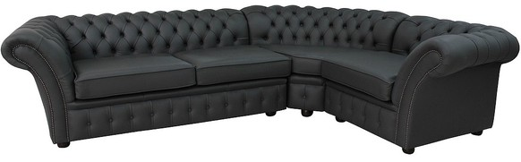 Chesterfield Belmont Corner Sofa Unit Cushioned 3 Seater + Corner + 1 Seater Steel Grey Leather Extra Deep