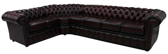 Chesterfield Corner Sofa 4 Seater + Corner + 2 Seater Antique Oxblood Leather Cushioned (with arm)