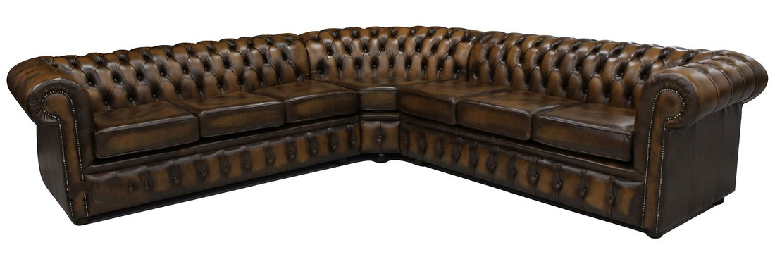 chesterfield corner sofa unit 6 seater antique brown leather
