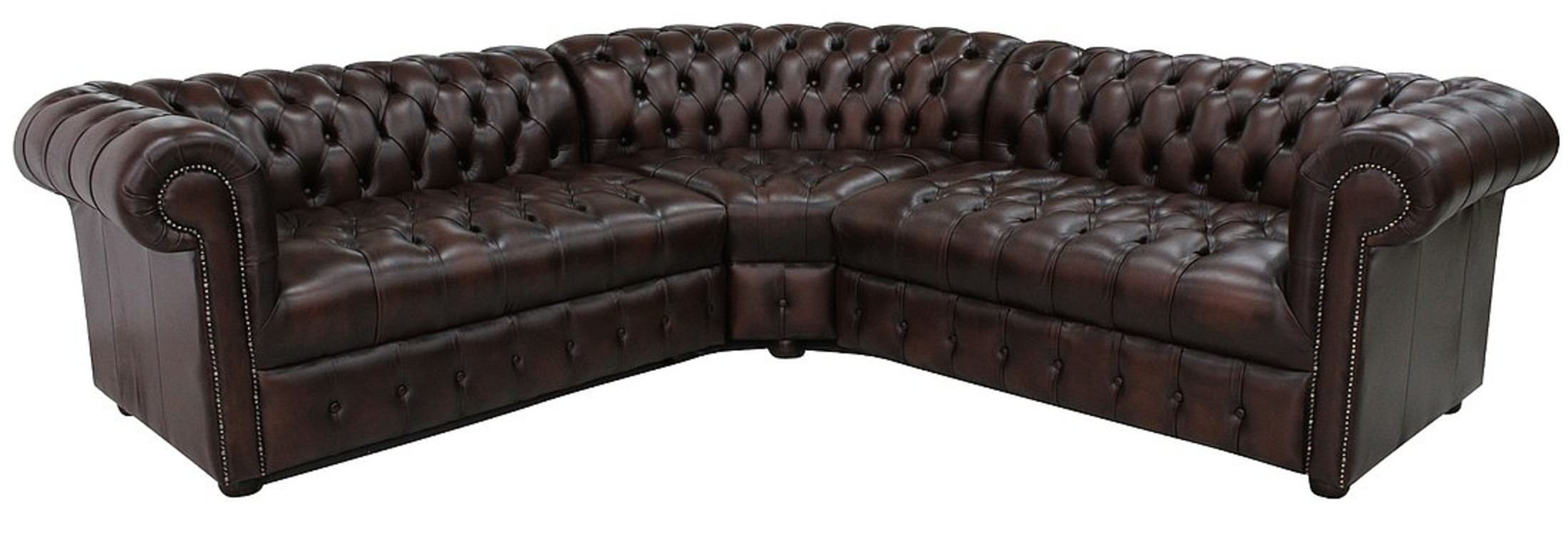 Chesterfield Corner Sofa Unit Buttoned Seat 2 Seater + Corner + 2 Seater  Antique Brown Leather