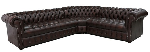 Chesterfield Corner Sofa Unit Buttoned Seat 3 Seater + Corner + 2 Seater Antique Brown Leather