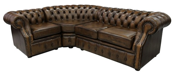 Chesterfield Richmond Grand Corner Sofa Unit 2 + C + 1 Antique Gold Leather