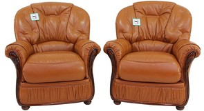 2 x Indiana Genuine Italian Sofa Armchairs Tan Leather