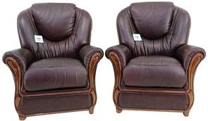 2 x Juliet Genuine Italian Sofa Armchairs Burgandy Leather
