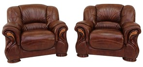 2 x Susanna Italian Leather Armchairs Tabak Brown Offer