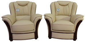 2 x Montana Genuine Italian Sofa Armchairs Cream Leather