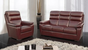 Amalfi 3 Seater + Armchair + Armchair Italian Leather Sofa Settee Offer Wine