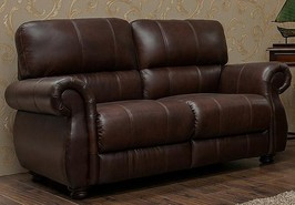 Ascot 2 Seater Leather Sofa Chestnut Or Dark Brown