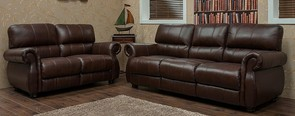 Ascot 3 Seater + 2 Seater Leather Sofa Suite Chestnut Or Dark Brown