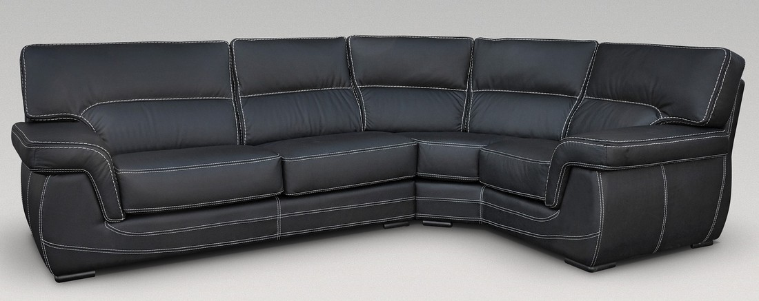 babylon 3 corner 1 genuine italian black leather corner sofa group suite offer. Black Bedroom Furniture Sets. Home Design Ideas