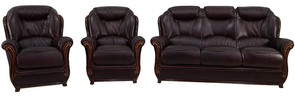 Bari 3+1+1 Genuine Italian Burgandy Leather Sofa Suite Offer