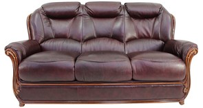 Bari 3 Seater Sofa Genuine Italian Burgandy Leather Settee Offer