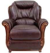 Bari Armchair Sofa Genuine Italian Burgandy Leather Offer