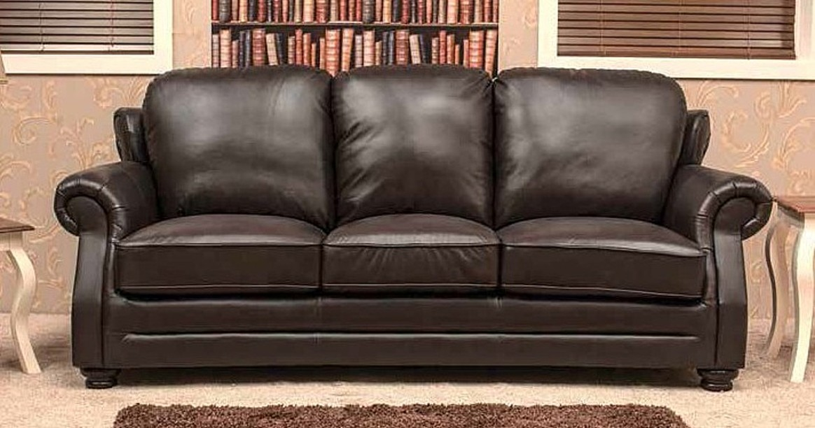 Belfry 3 Seater Leather Sofa Settee Chestnut Or Dark Brown