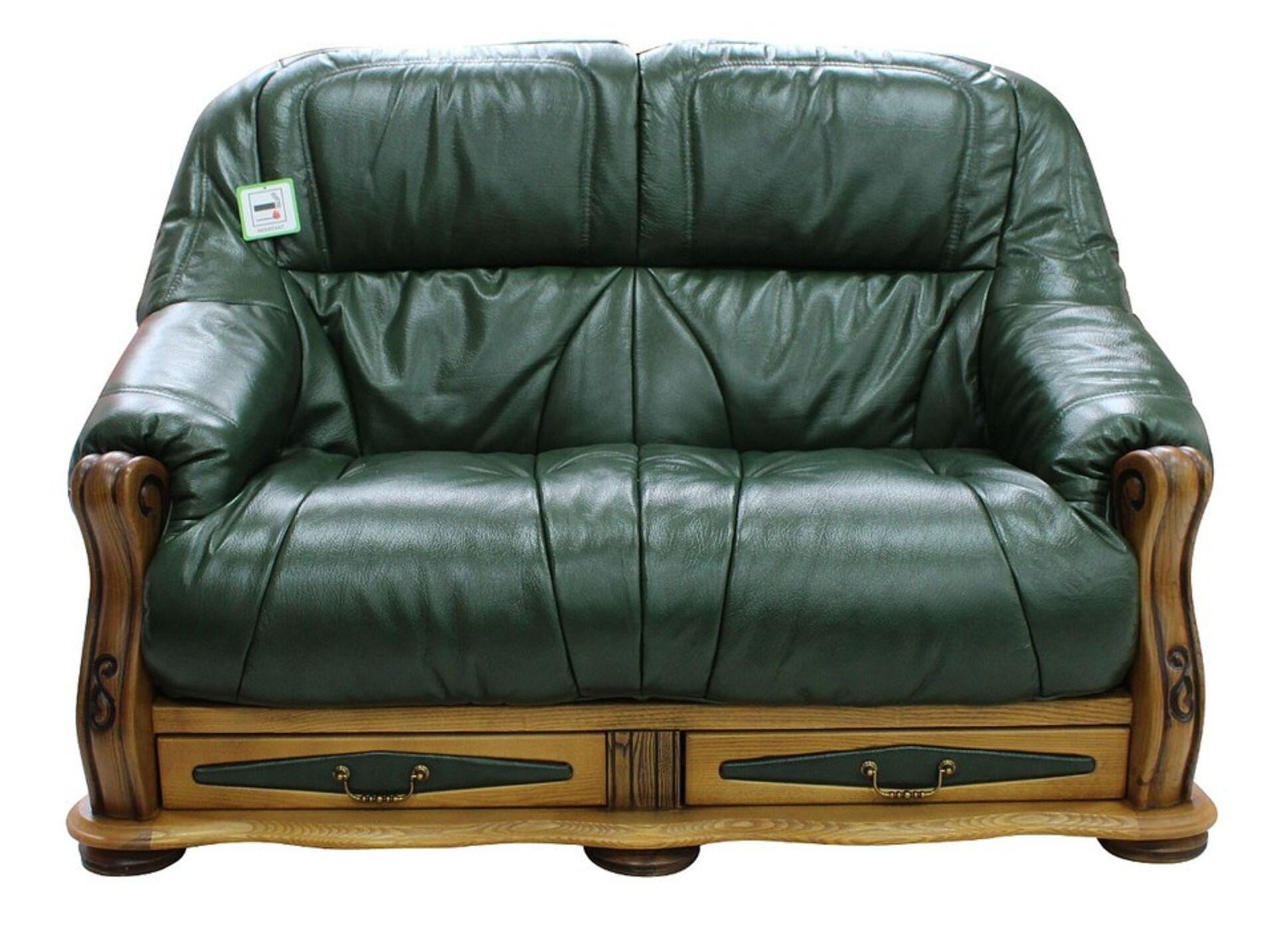 Merveilleux Belgium Storage Drawer Genuine Italian Leather 2 Seater Sofa Settee Green