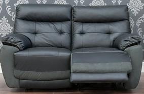 Bellini Reclining 2 Seater Leather And Fabric Sofa Available In Black And Dark Grey