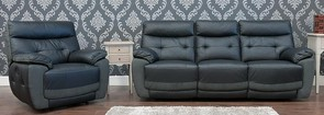 Bellini Reclining 3+1 Leather And Fabric Sofa Suite Available In Black And Dark Grey