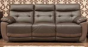 Bellini Reclining 3 Seater Leather And Fabric Sofa Available In Espresso Raisin