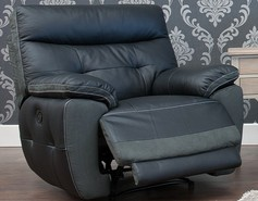 Bellini Reclining Armchair Leather And Fabric Sofa Available In Black And Dark Grey