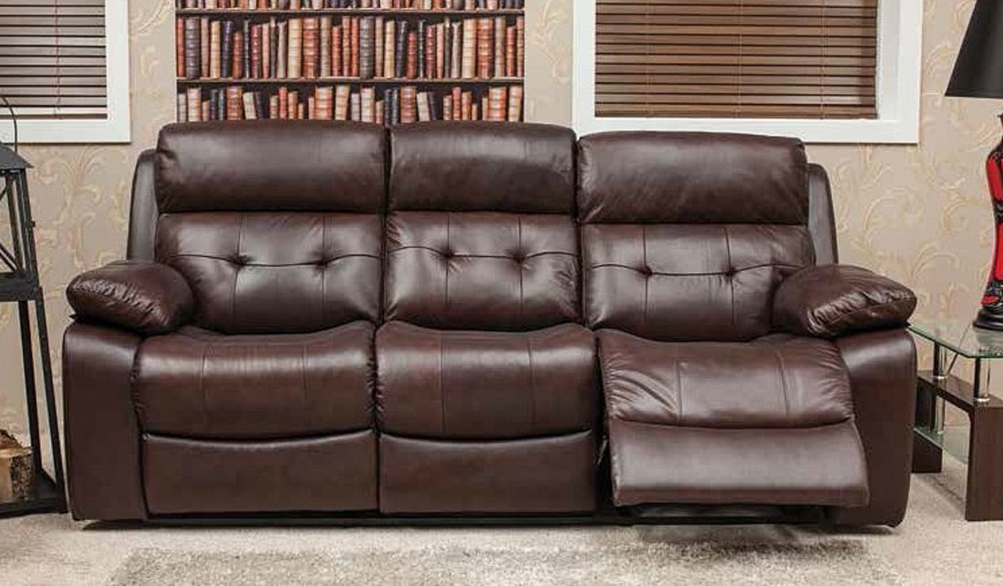 Belmont Reclining 3 Seater Leather Look Fabric Sofa