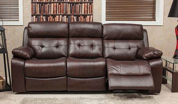 Belmont Reclining 3 Seater Leather Look Fabric Sofa Available In Black, Brown And Burgandy