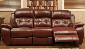 Bentley Reclining 3 Seater Leather Sofa Settee Available In Brandy, Tabak And Wine