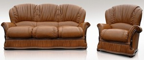 Bologna 3 Seater + Armchair Genuine Italian Tan Leather Sofa Suite Offer