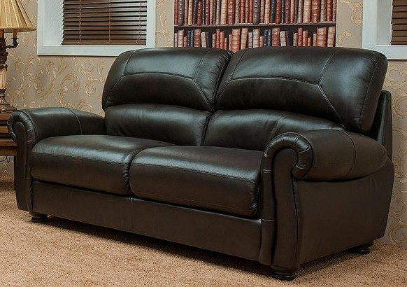 Cambridge 3 Seater Leather Sofa Suite Available In Chestnut Or Dark Brown